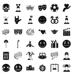 Good emotion icons set simple style vector