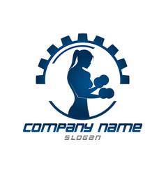 Gym woman logo vector