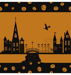Halloween card seamless pattern vector image