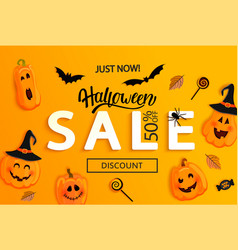 halloween just now sale banner vector image