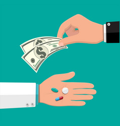 hand pharmacist with pills and money vector image