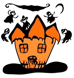 Haunted halloween witch house vector image
