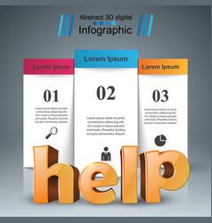 help 3d business infographics vector image