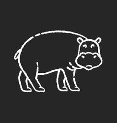 Hippo chalk white icon on black background vector