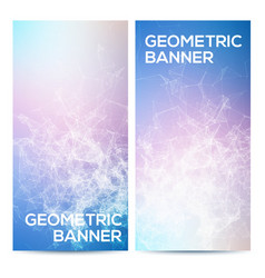 horizontal banners set with polygonal vector image