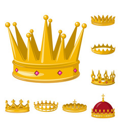 Isolated object monarchy and gold icon set of vector