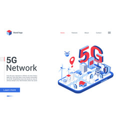 isometric 5g network concept landing page mobile vector image