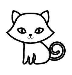 Kitten sitting adorable outline vector