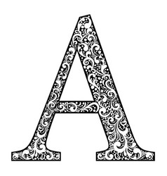 letter a letter black with white ornament vector image