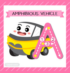 Letter a uppercase tracing amphibious vehicle vector