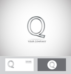Letter Q silver wire metallic metal vector
