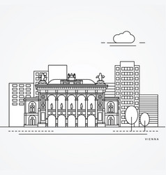 linear vienna austria flat one line style trendy vector image