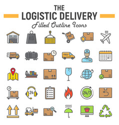 logistic filled outline icon set delivery symbols vector image