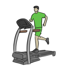 man running in a gym on a treadmill vector image