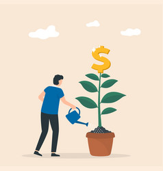 Money tree businessman watering a plant vector