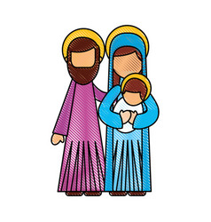 Nativity scene of joseph and mary holding baby vector