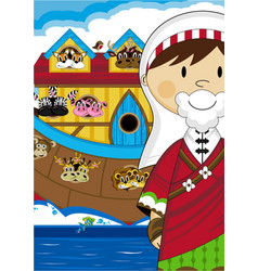 Noah and ark with animals vector
