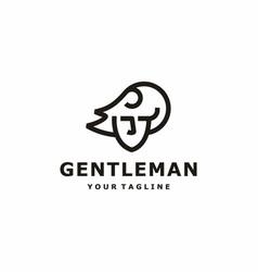 Portrait man line art logo vector