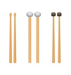 Professional wooden drum sticks with rounded ends vector