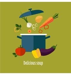 Recipe Vegetarian Vegetable Soup vector