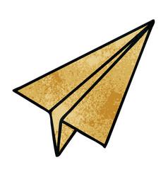 Retro grunge texture cartoon paper aeroplane vector