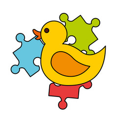 rubber duck pieces puzzles kid toys vector image