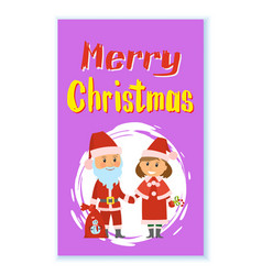 santa claus and helper in traditional costumes vector image