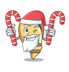 Santa with candy sea shell mascot cartoon vector