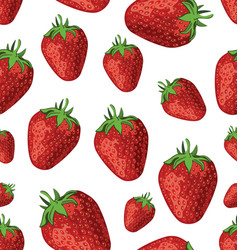 Seamless background of strawberries vector