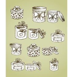 set gift present boxes vector image