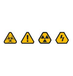 set hazard warning attention sign biohazard vector image