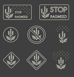 Set of minimalist linear signs about ragweed vector