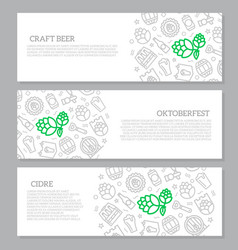 set of three digital beer pub and bar horizontal vector image