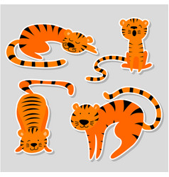 Set stickers with tigers in different poses vector