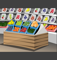 shelf with fruits in the supermarket vector image