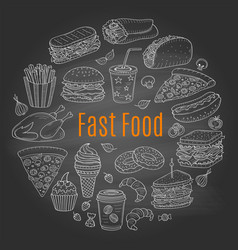Sketch of fast food circular vector