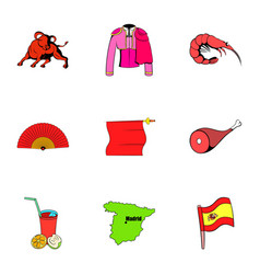 spanish icons set cartoon style vector image