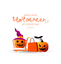 special offer halloween up to fifty percent off vector image