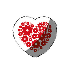 Sticker red heart shape with pinions and gears set vector