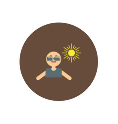 stylish icon in color circle man in sunglasses vector image