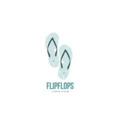 Stylized pair of three colored rubber flip flops vector image