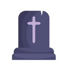 tombstone cross icon trick or treat happy vector image