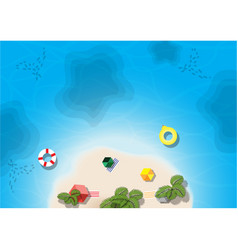 Top island beach view aerial view vector
