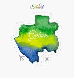 Travel around the world Gabon Watercolor map vector image