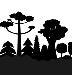 Trees black silhouettes vector