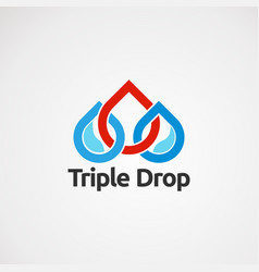 triple drop logo concept icon element and vector image