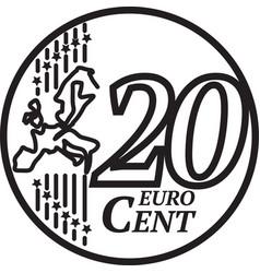 Twenty euro cent coin vector
