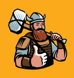 viking with hammer sports mascot cartoon vector image