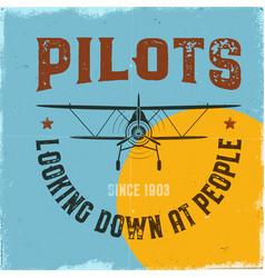 Vintage airplane poster pilots looking down vector