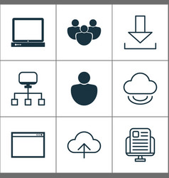 web icons set with upload application window vector image